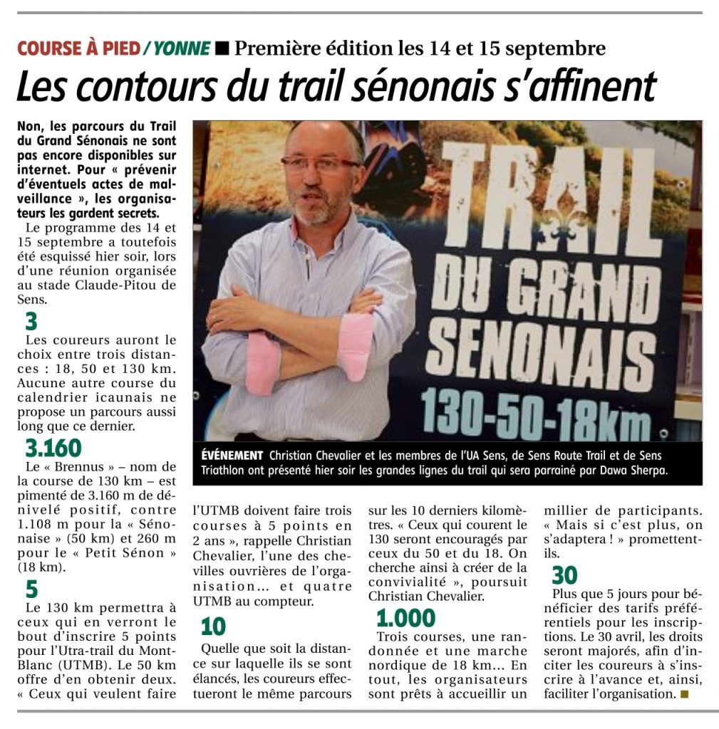 Article Yonne Républicaine Trail du Grand Sénonais