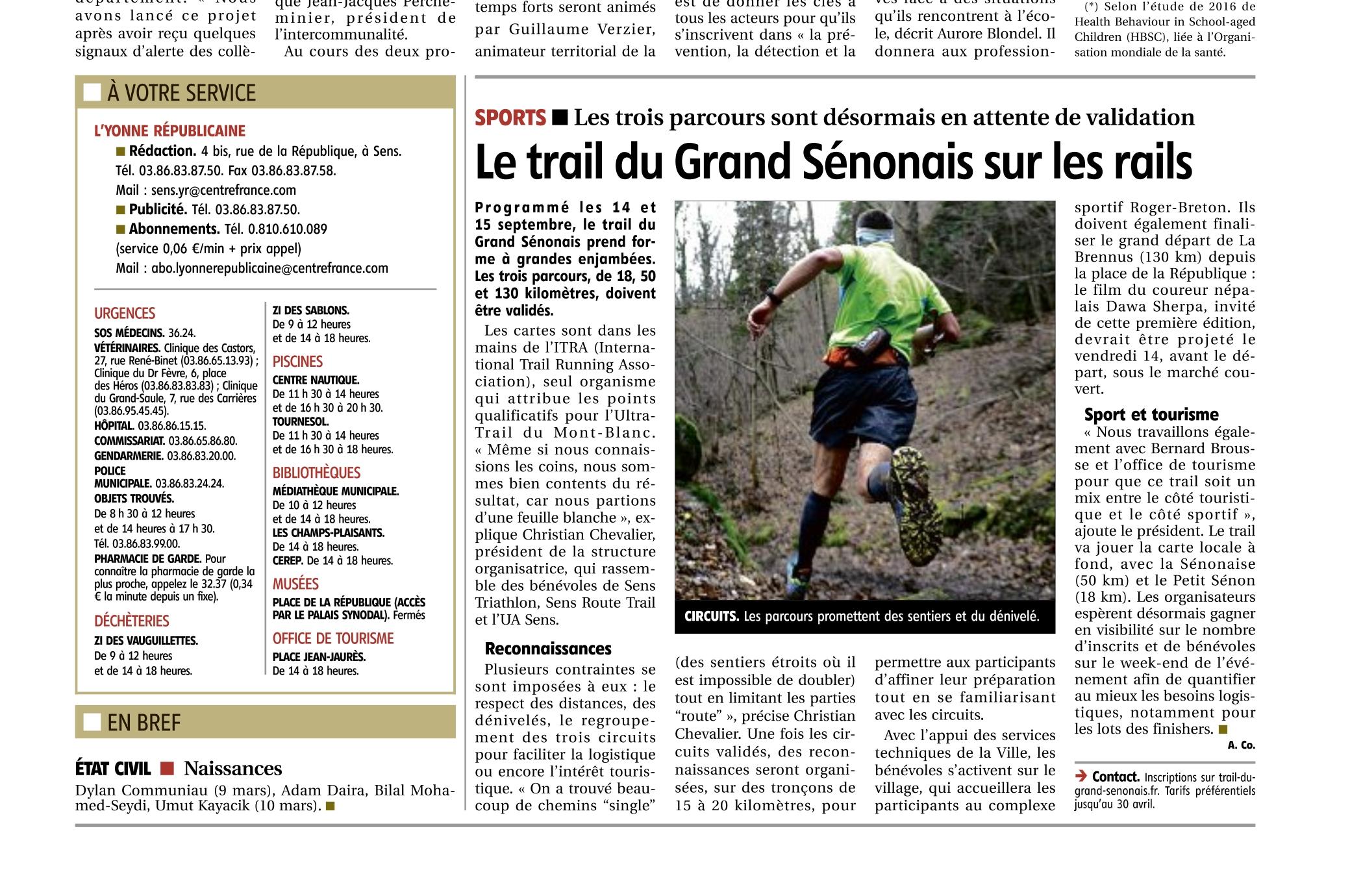 Article Yonne Républicaine Trail du Grand Sénonais